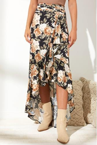 Floral Hi-Lo Ruffle Skirt BLACK MULTI -
