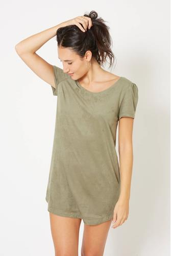 Olive Faux Suede A-Line Mini Dress OLIVE