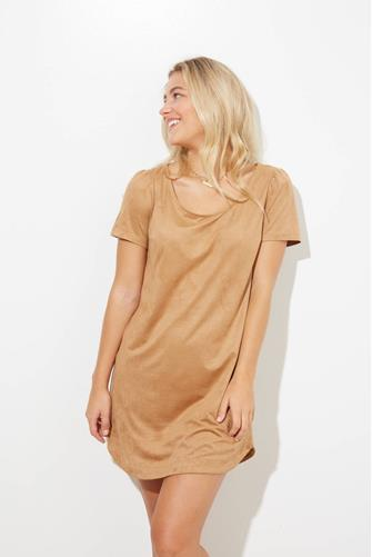 Camel Faux Suede A-Line Mini Dress CAMEL