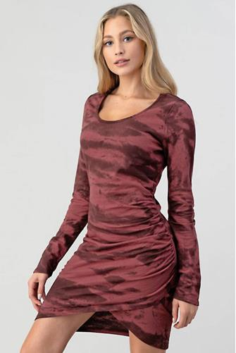 Wine Tie Dye Bodycon Dress WINE