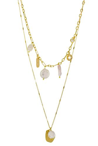 Pearl & Charm Double Layer Necklace PEARL