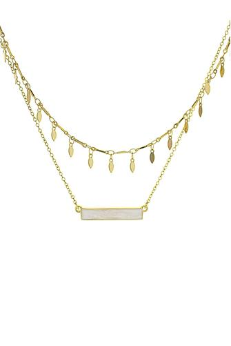 White Bar & Oval Disc Double Layer Necklace WHITE