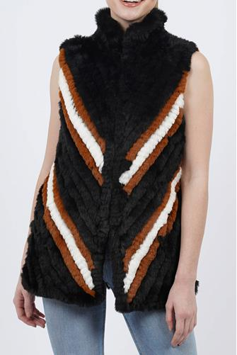 Marilyn Stripe Faux Fur Vest BLACK MULTI -