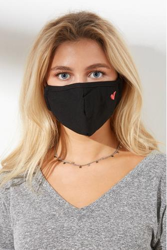 Mini Heart Cushioned Lined Face Mask BLACK MULTI -