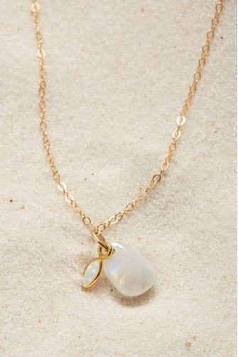 Pixie Rainbow Moonstone Necklace GOLD