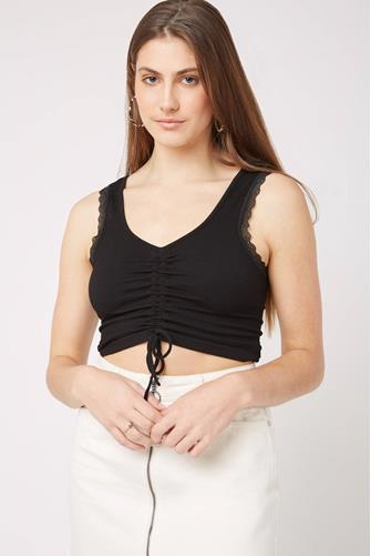 Tie Front Ruched Rib Top BLACK