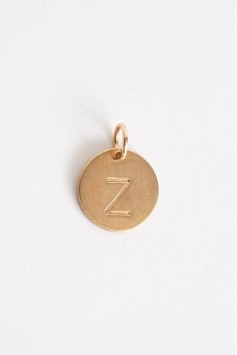 Z Initial Disc Necklace Charm GOLD