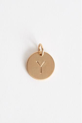 Y Initial Disc Necklace Charm GOLD