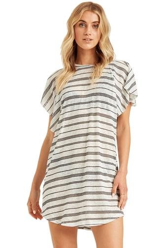 Stripe Out For Waves Cover Up Dress WHITE MULTI -