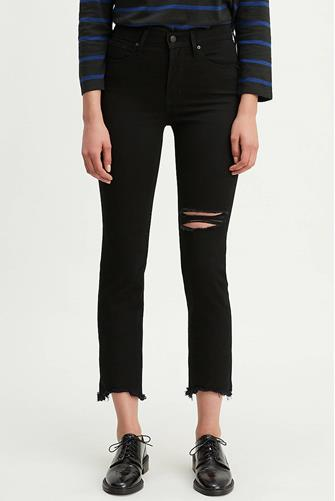 724 Hi Rise Straight Leg Crop Jean in Black BLACK