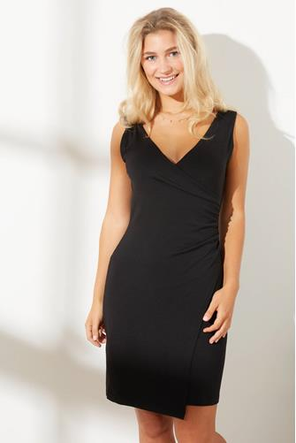 Gathered Wrap Tank Dress BLACK