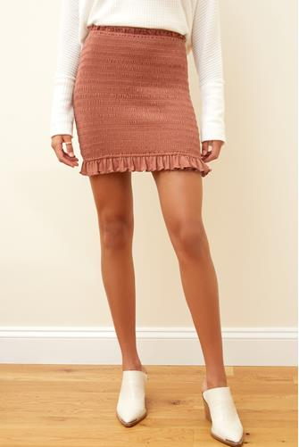 Mocha Smocked Bodycon Mini Skirt MOCHA -