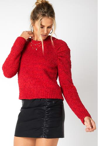 Lucie Raglan Knit Sweater RED MULTI -