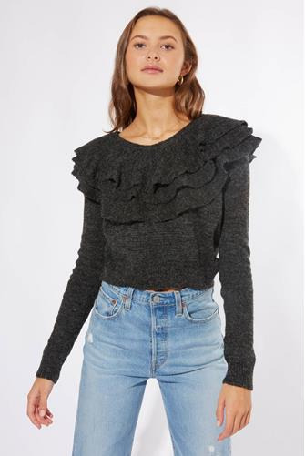 Ruffle Neck Pullover CHARCOAL