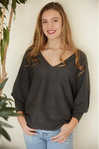 Charcoal V-Neck Batwing Pullover CHARCOAL