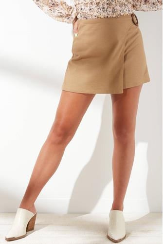 Expedition Linen Wrap Skirt TAN