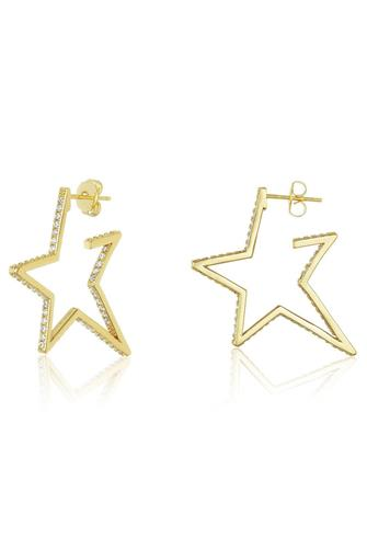 "2"" Caroline Pave Star Huggie Earrings CLEAR"