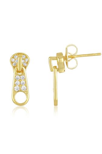 The Maddox Zipper Stud Earrings CLEAR
