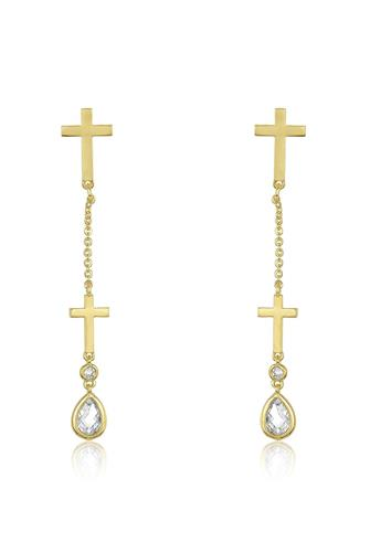 Double Cross Drop Earrings GOLD