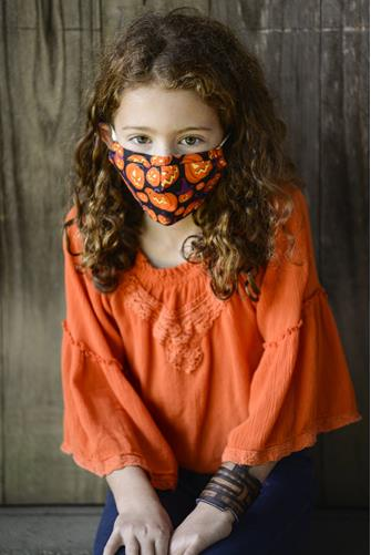 Kids Witch Pumpkin Face Mask BLACK MULTI -