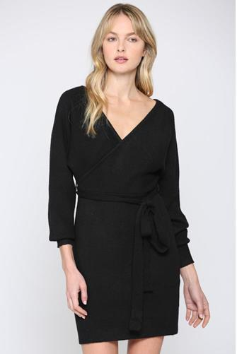 Wrap Sweater Dress BLACK