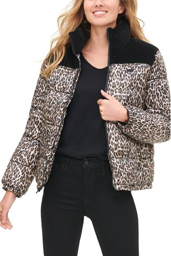 Velvet Panel Cheetah Puffer Jacket BROWN MULTI -