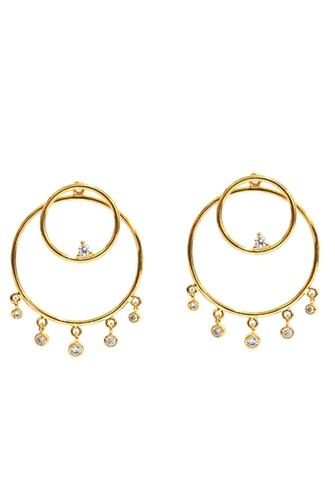 Double Open Circle Ear Jacket GOLD