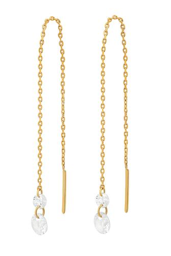 Gold Chain Stone Threader Earrings GOLD