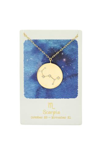 Scorpio Zodiac Coin Necklace GOLD