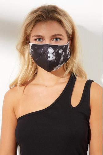 Black Tie Dye Face Mask BLACK MULTI -
