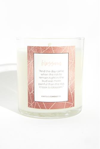 Blossom Quote Candle 9.5 oz. CLEAR