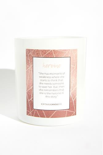 Heroine Quote Candle 9.5 oz. CLEAR