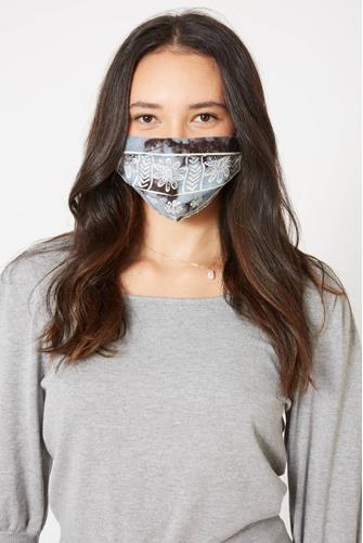 Grey Paisley Pleated Face Mask GREY
