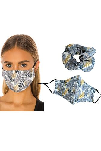 Leaf Print Mask & Scrunchie Set MULTI