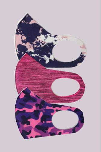 Pink Printed Active Face Mask Three Pack PINK MULTI -