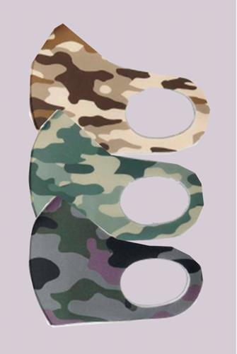 Camo Printed Active Face Mask Three Pack CAMO