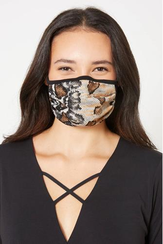 Black & Brown Snake Print Face Mask BROWN MULTI -