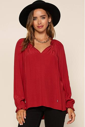 Textured Long Sleeve Top RED