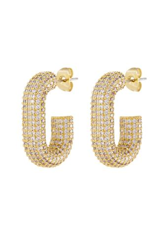 Gold Pave Bijou Loop Hoop Earrings GOLD