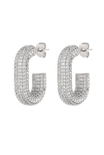 Silver Pave Bijou Loop Hoop Earrings SILVER