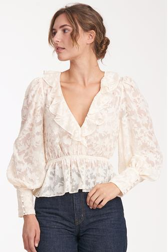 Burnout Floral Ruffle Blouse IVORY