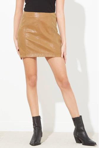 Modern Femme Vegan Leather Mini Skirt CHESTNUT