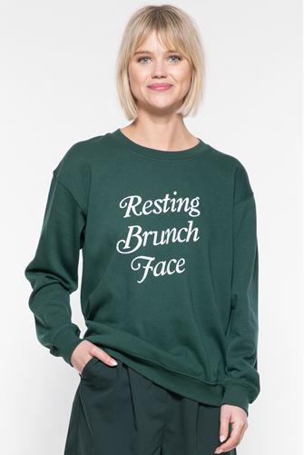Resting Brunch Face Willow Sweatshirt GREEN