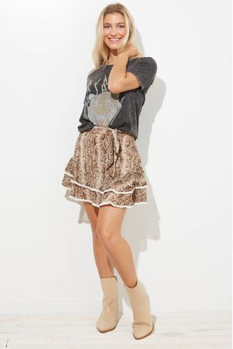 En Saison Python Print Ruffle Mini Skirt BROWN MULTI -