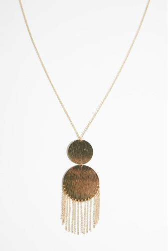 Large Double Gold Disc Pendant Necklace GOLD