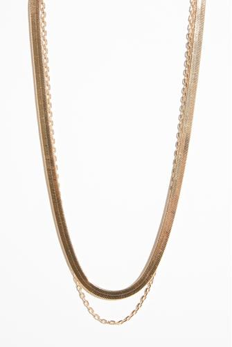 Gold Double Layer Snake Chain Necklace GOLD