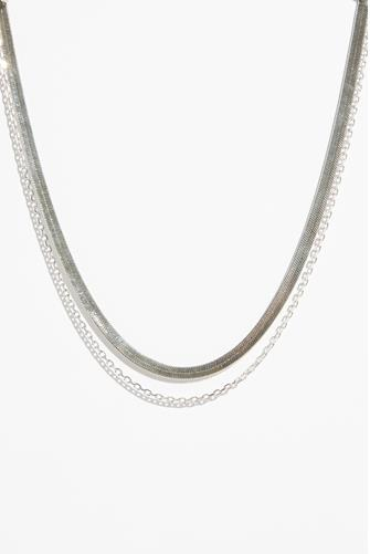 Silver Double Layer Snake Chain Necklace SILVER