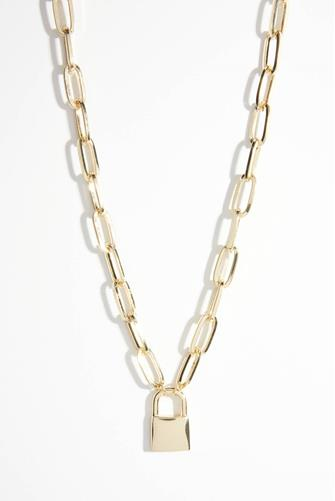 Large Chain Link Lock Necklace GOLD