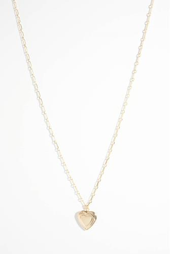Dainty Long Chain Heart Locket Necklace GOLD