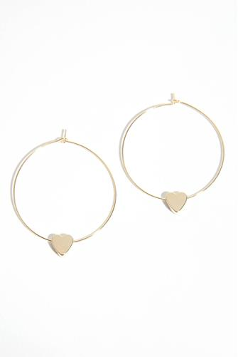 Gold Heart Charm Hoop Earrings GOLD